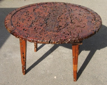 Reclaimed Creations - wormwood table - Trinity River Marine